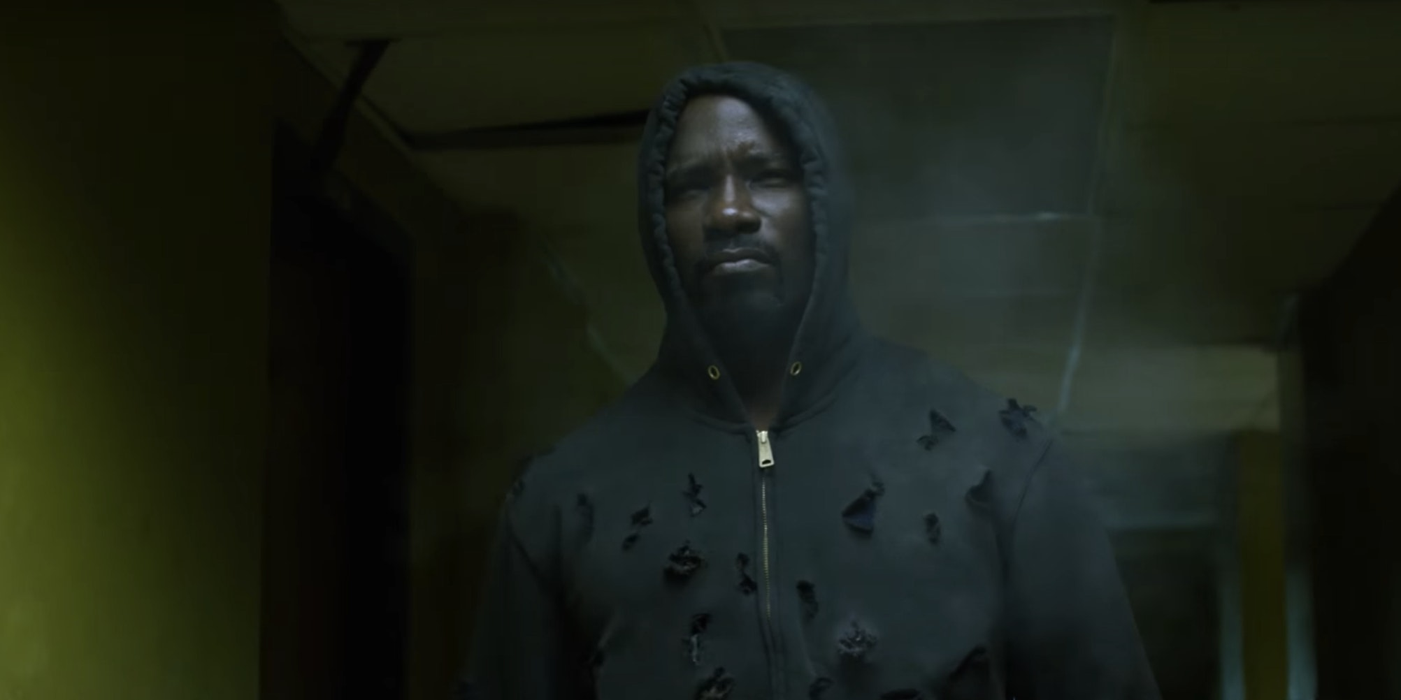 A still from the new Netflix show 'Luke Cage' shows that he is literally bulletproof.