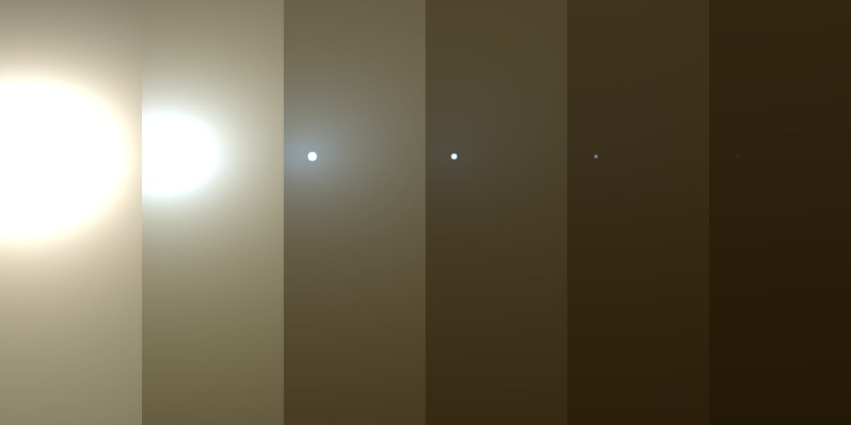 Atmospheric opacity images from the Opportunity rover on Mars.