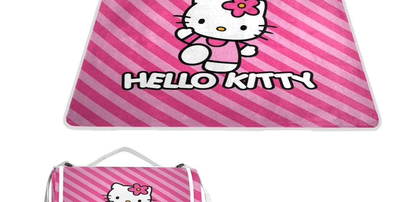 Hello Kitty Pint Strip Line Outdoor Picnic Blanket