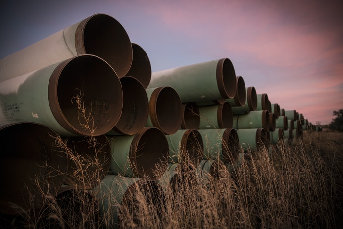 Pipes that will eventually become part of the pipeline.