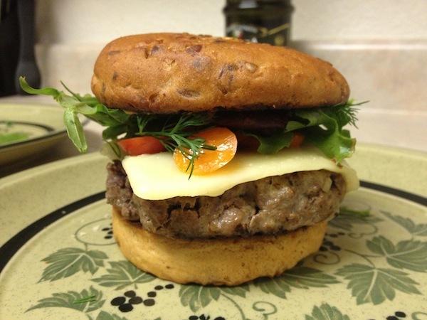 Homemade moose burger.