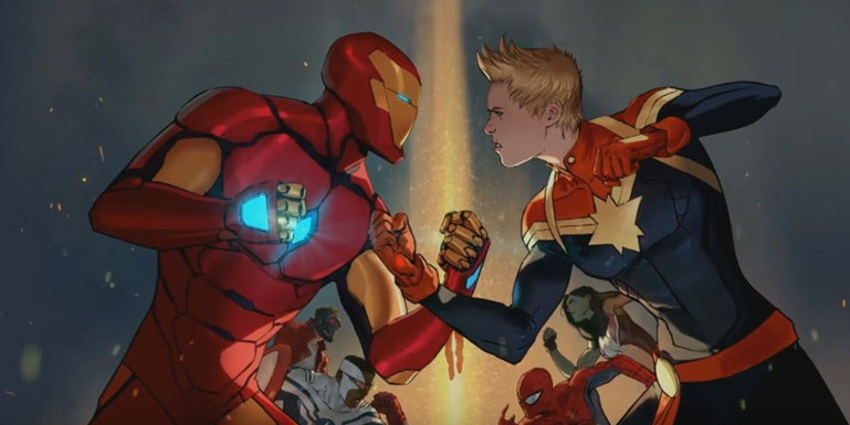 Promotional page for Marvel's Civil War II with Iron Man and Captain Marvel