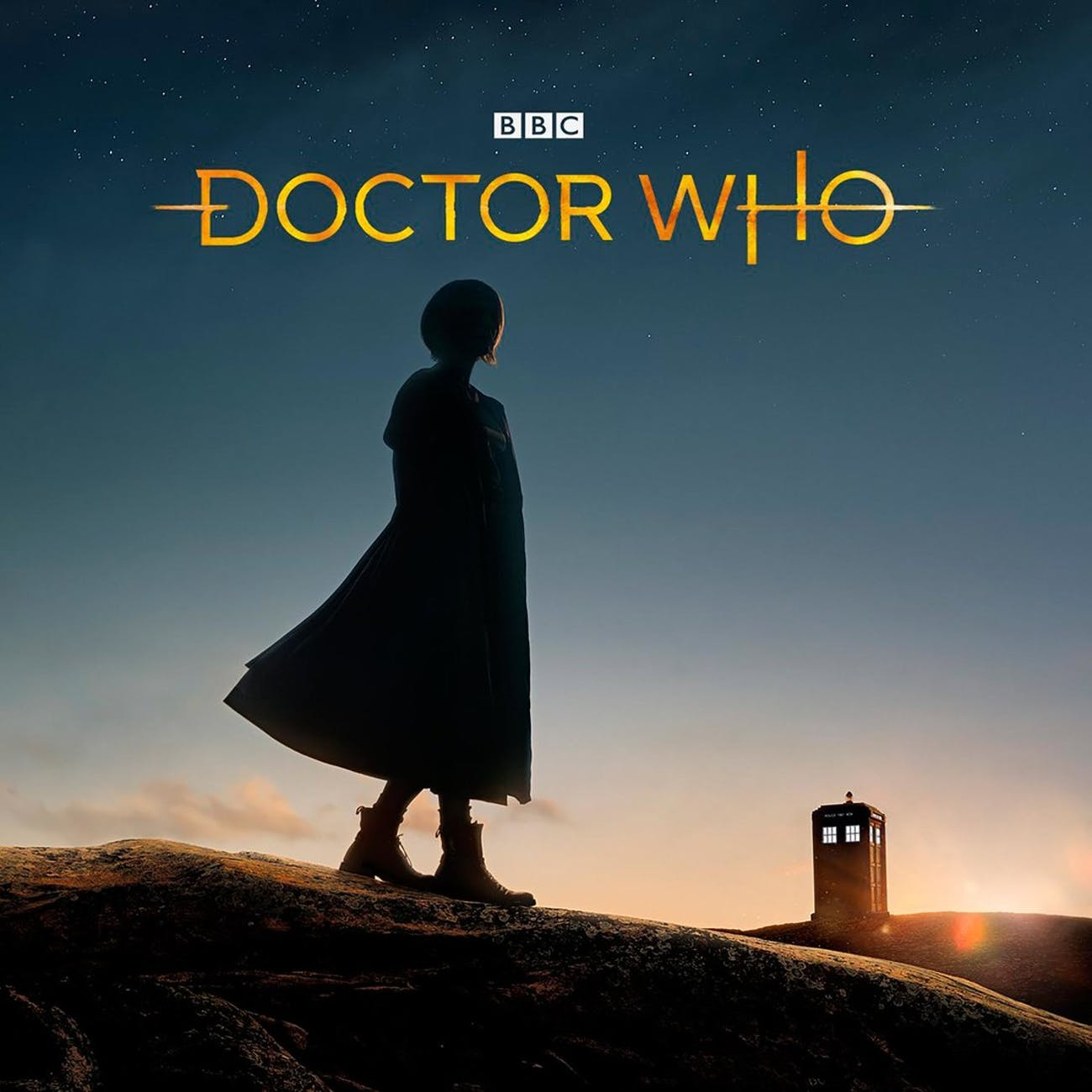 Jodie Whittaker as the 13th Doctor with the new logo for 'Doctor Who'.