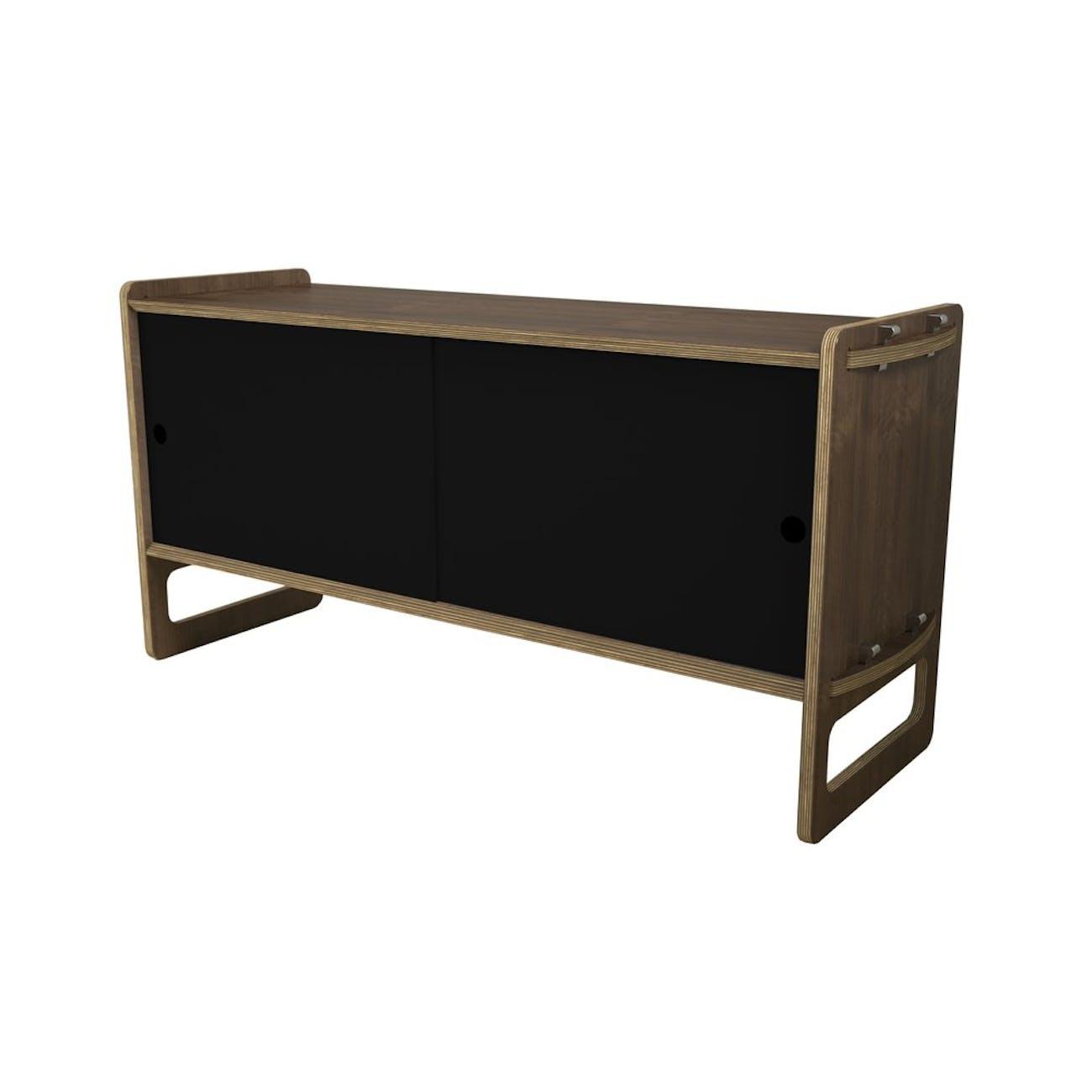 A black storage cabinet.
