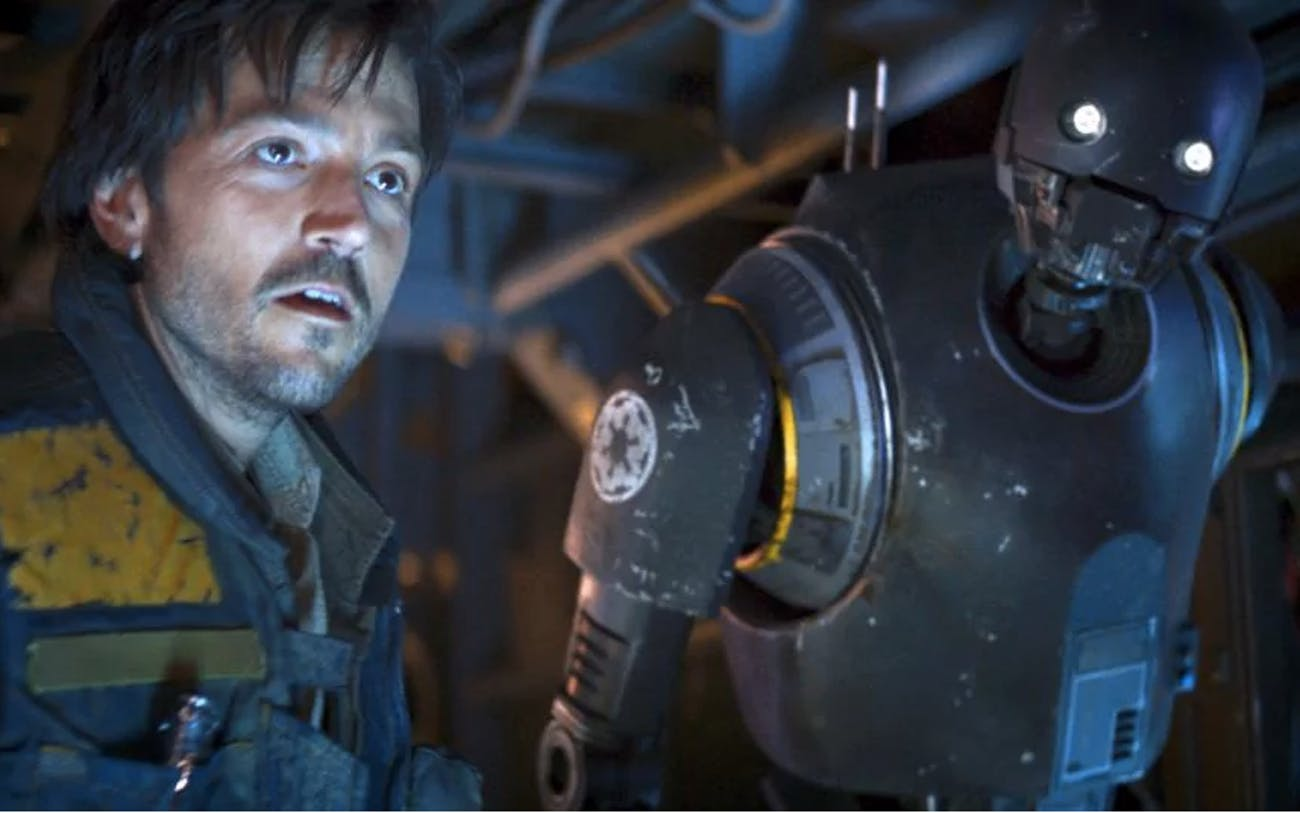 Cassian Andor and K-2SO died in different ways before the 'Rogue One' reshoots.