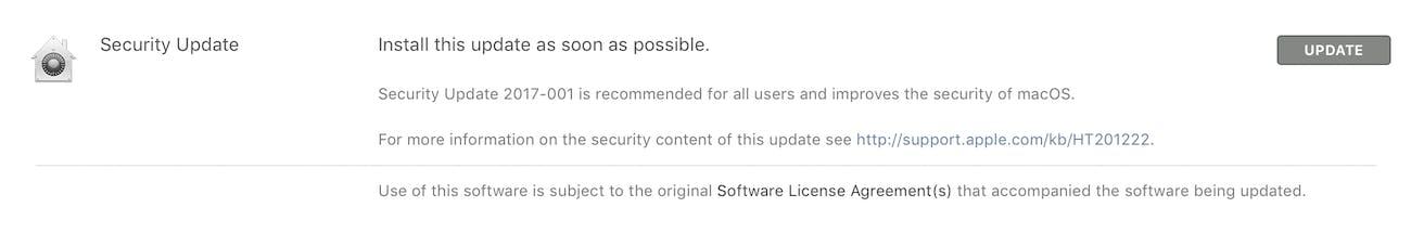 The software update window.