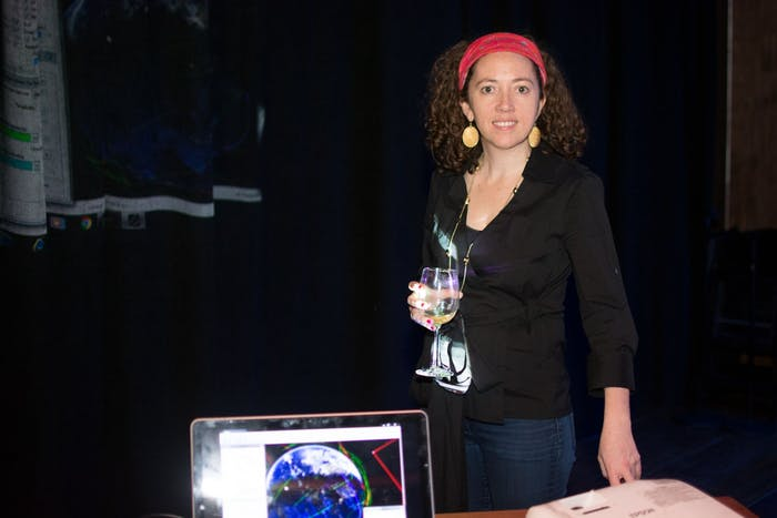 Jackie Faherty at her booth at the Inverse Science Fair.