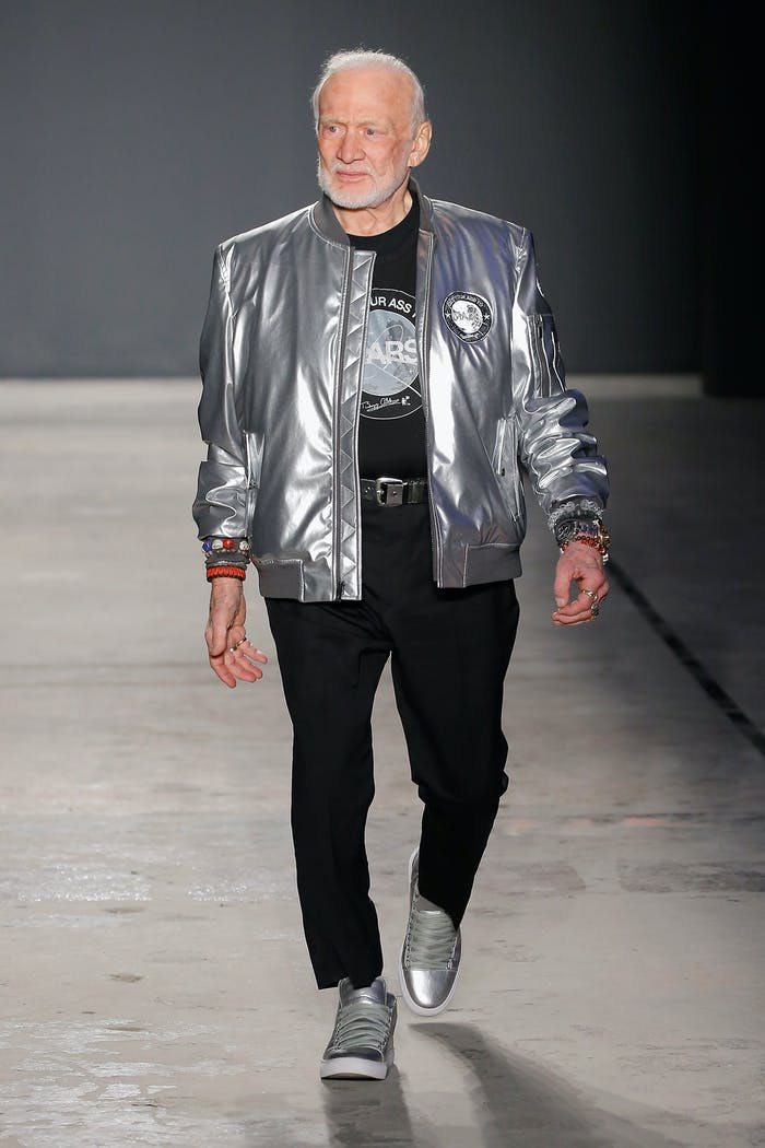 Buzz Aldrin walking the runway at Nick Graham's show.