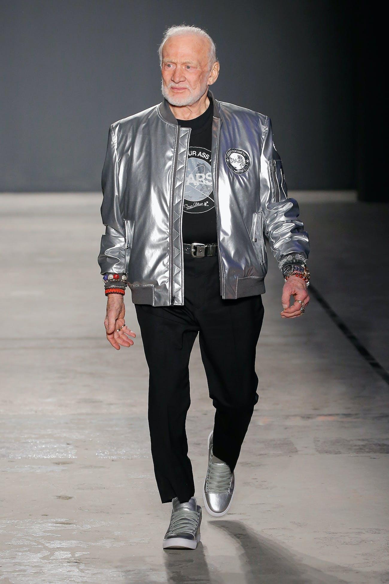 Buzz Aldrin walking the runway at Nick Graham's show.