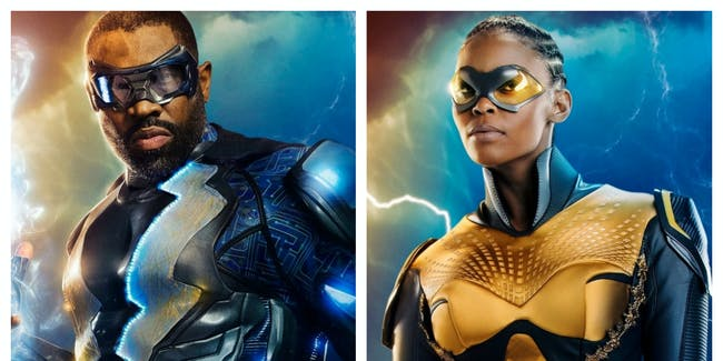 Left: Cress Williams as the superhero Black Lightning. Right: Nafessa Williams, suited up as Thunder.