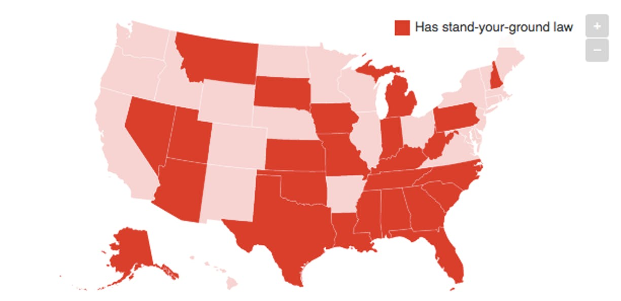 US Map of 'Stand Your Ground' Law Having States