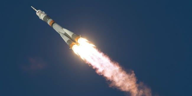 The Soyuz TMA-19M rocket with Expedition 46 Soyuz Commander Yuri Malenchenko of the Russian Federal Space Agency (Roscosmos), Flight Engineer Tim Kopra of NASA, and Flight Engineer Tim Peake of ESA (European Space Agency) launches into space from Baikonur cosmodrome on December 15, 2015.