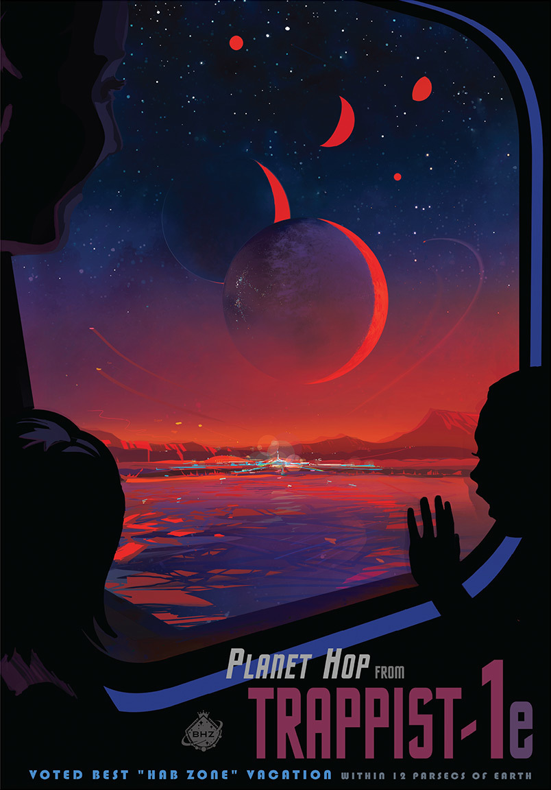 NASA just released a tourist poster of TRAPPIST-1e, an Earth-like planet in the habitable zone of the star TRAPPIST-1.