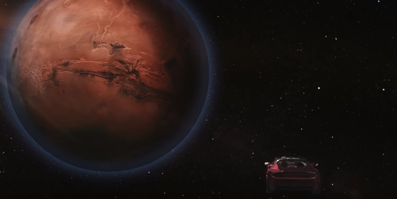 Falcon Heavy's Tesla heading toward Mars
