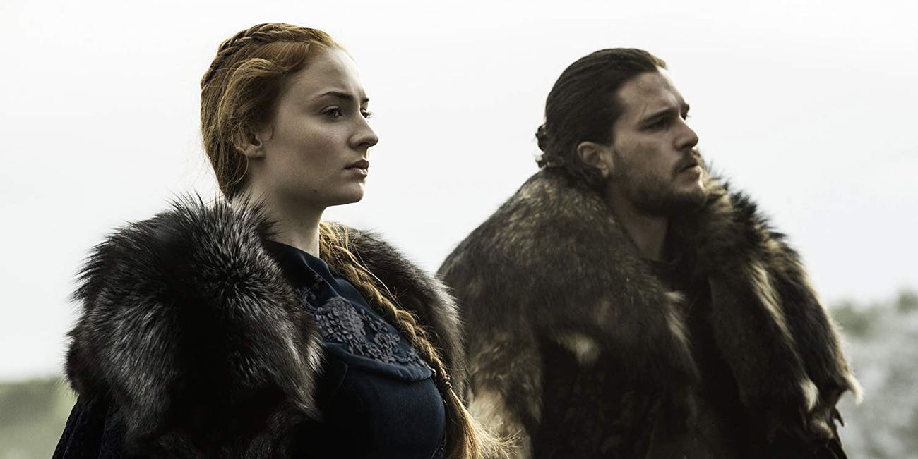 Sophie Turner and Kit Harington in Game of Thrones Season 6