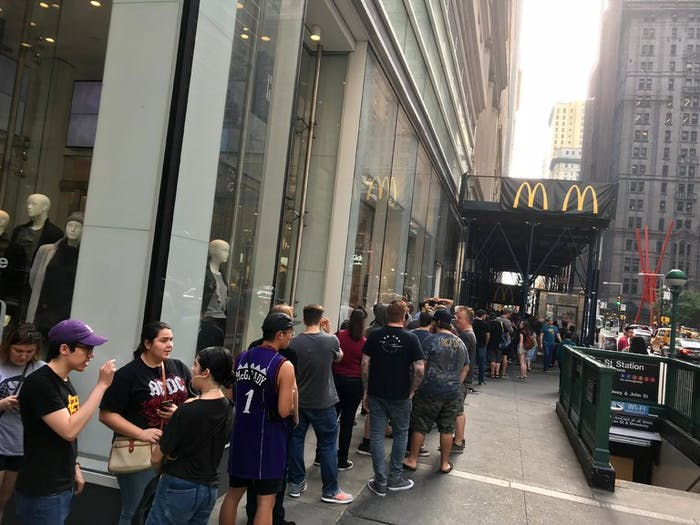 Fans lined up in Manhattan.