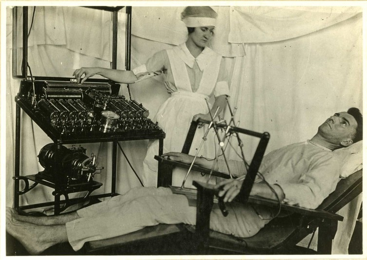 Electric treatments were prescribed in psychoneurotic cases post-WWI.