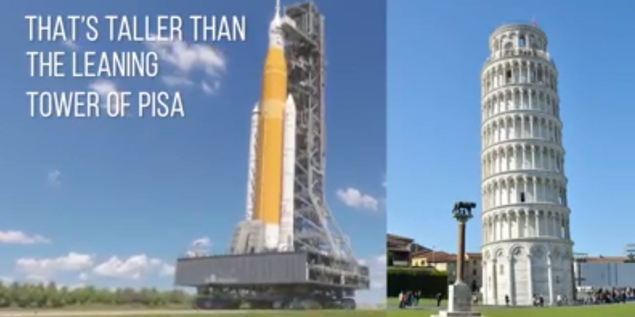 SLS leaning tower height comparison