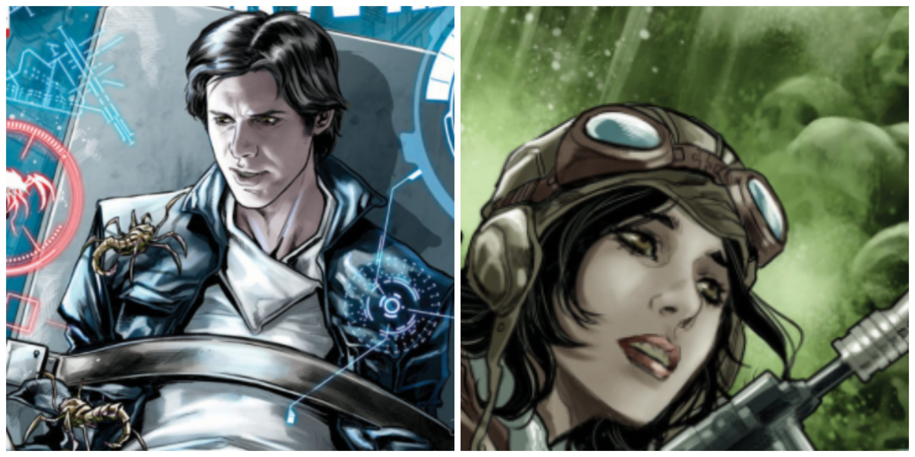 LEFT: Han surrounded by creepy buys. RIGHT: Doctor Aphra among skulls.