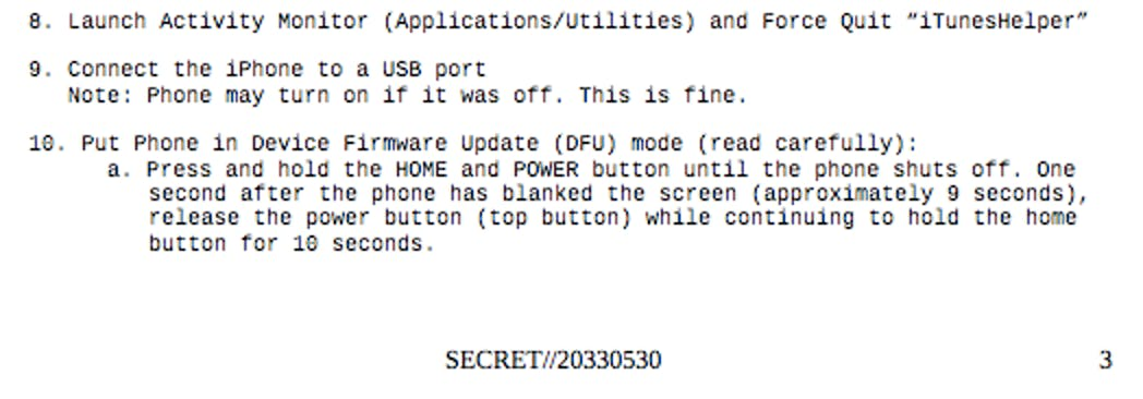 Screenshot of Wikileaks Vault 7 CIA records governing NightSkies a iPhone hacking program from 2008.
