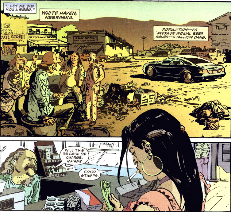 Dashiell Bad Horse and Lincoln Red Crow roll into White Haven, Nebraska, in the first issue of 'Scalped' only to run into Red Crow's estranged daughter, Carol (who will be portrayed by Lily Gladstone in the upcoming TV series).