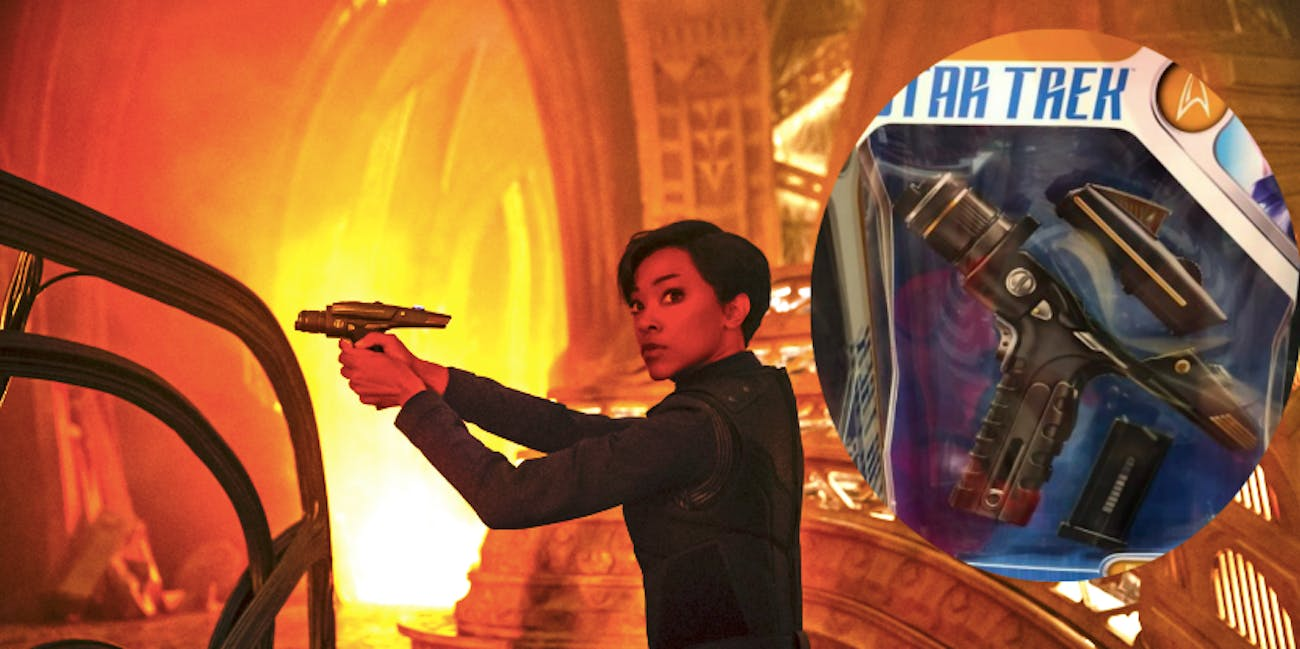 Michael Burnham with her phaser and the new phaser toy coming from Mcfarlane Toys