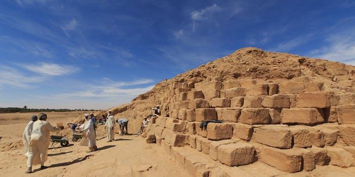 Pyramid excavation in El Kurru, Sudan