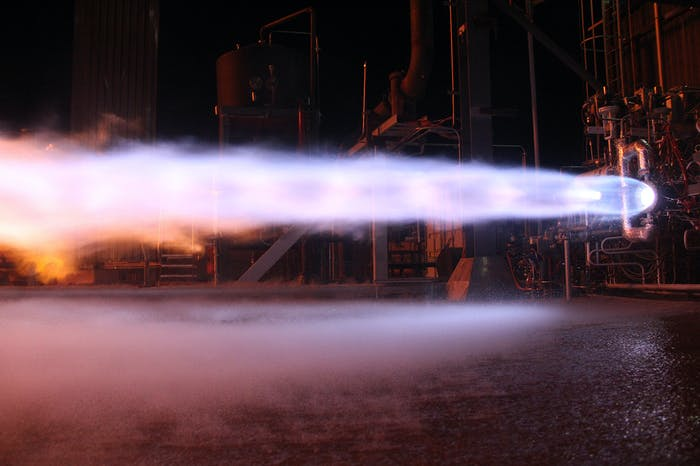 Blue Origin's BE-4 engine during a static fire test.