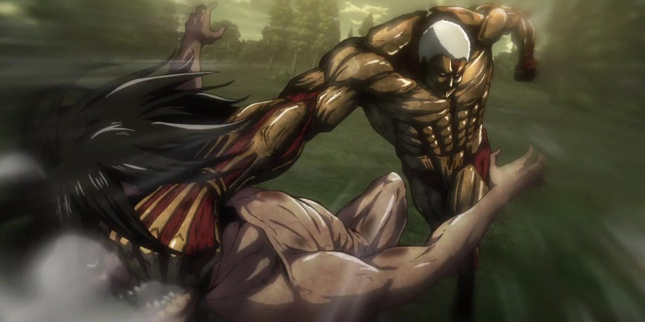 Reiner's Armored Titan fights with Eren in his Titan form.