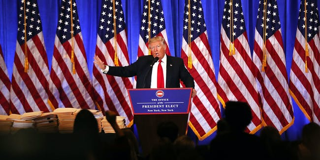 President-elect Donald Trump speaks at a news conference at Trump Tower  on January 11, 2017 in New York City. This is Trump's first official news conference since the November elections.