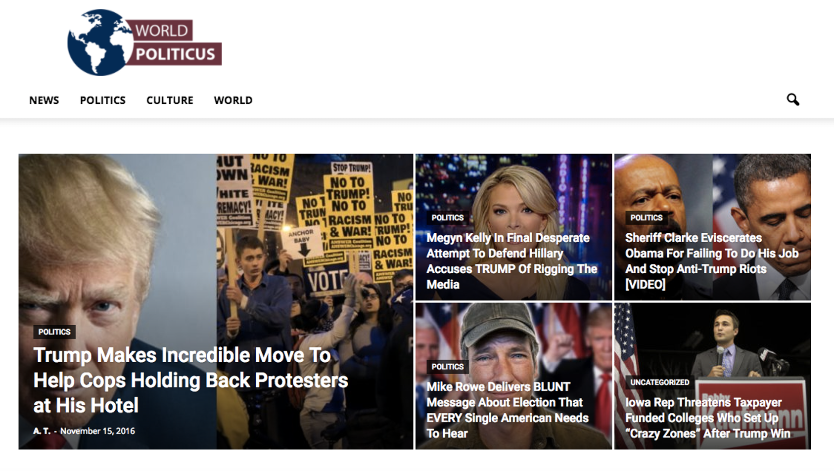 World Politicus's homepage on Tuesday.