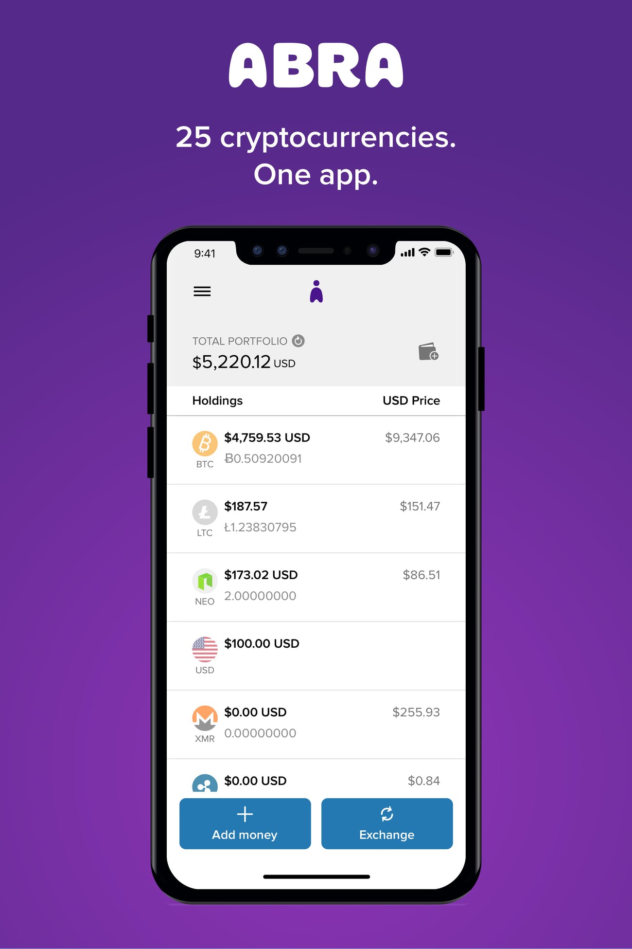 Abra now supports a number of cryptocurrencies.