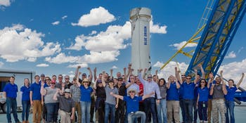 Blue Origin crew ahead of Mission 9 launch on July 17, 2018.