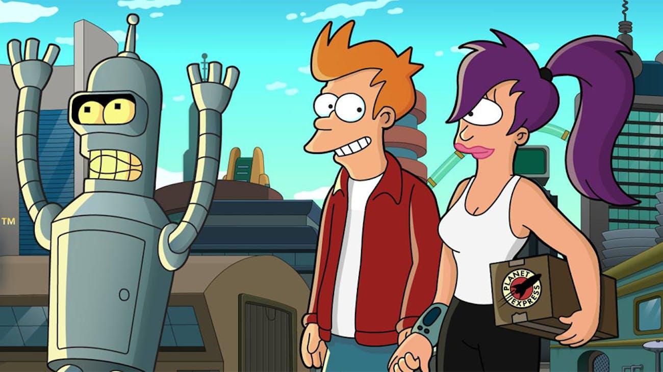 Bender, Fry, and Leela.
