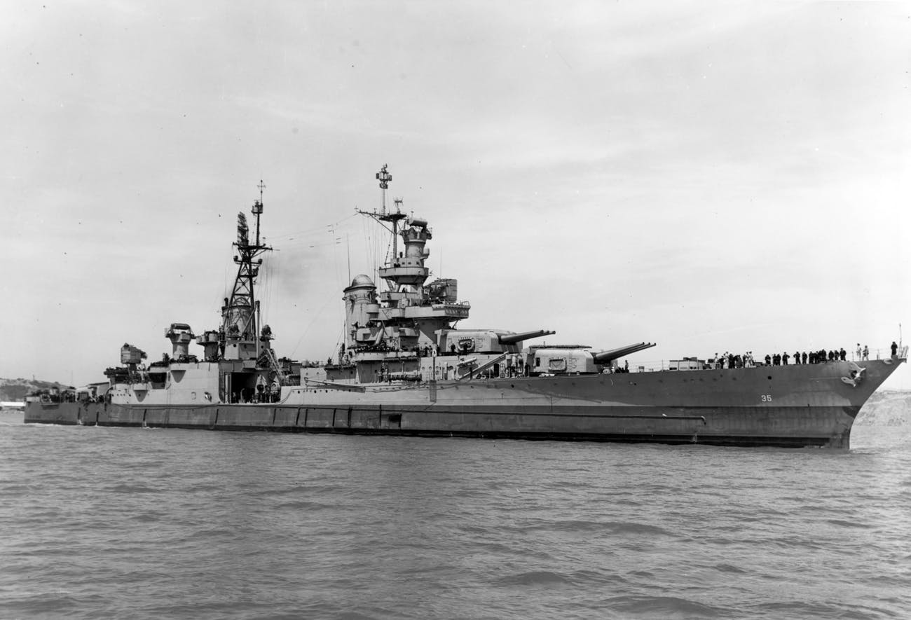 USS Indianapolis (CA-35) off the Mare Island Naval Shipyard on 10 July 1945 (19-N-86911)