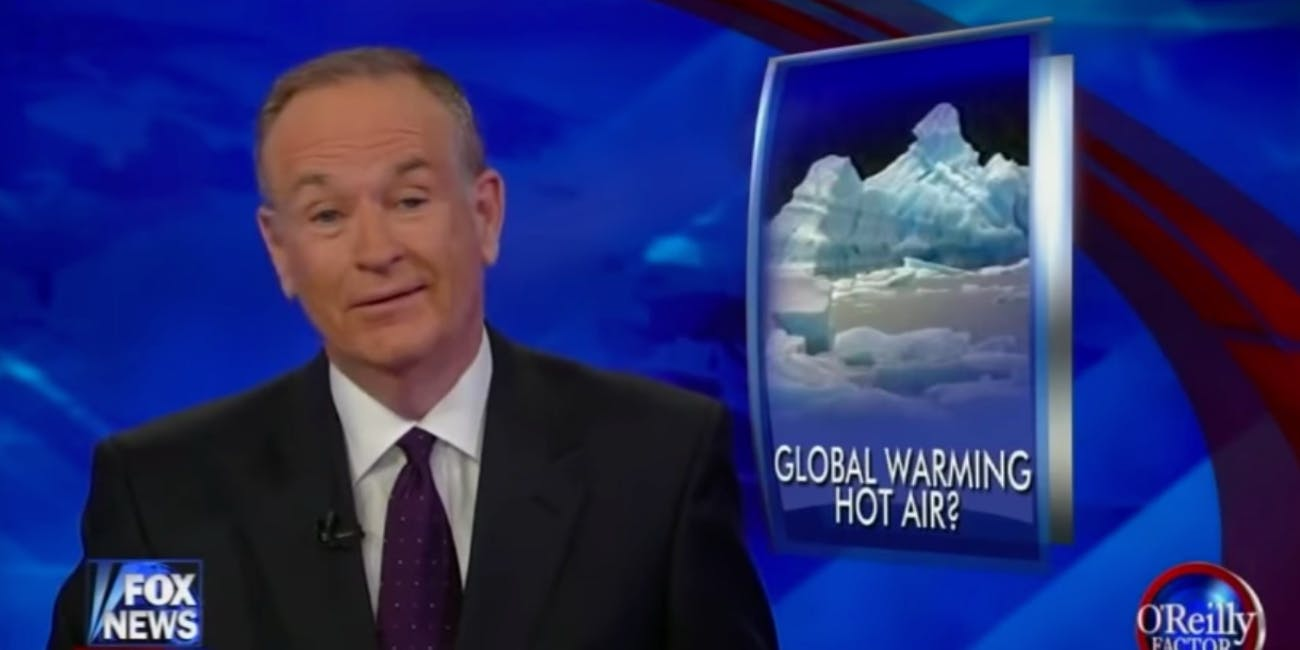 Bill O'Reilly's record on covering climate change has been less than stellar.