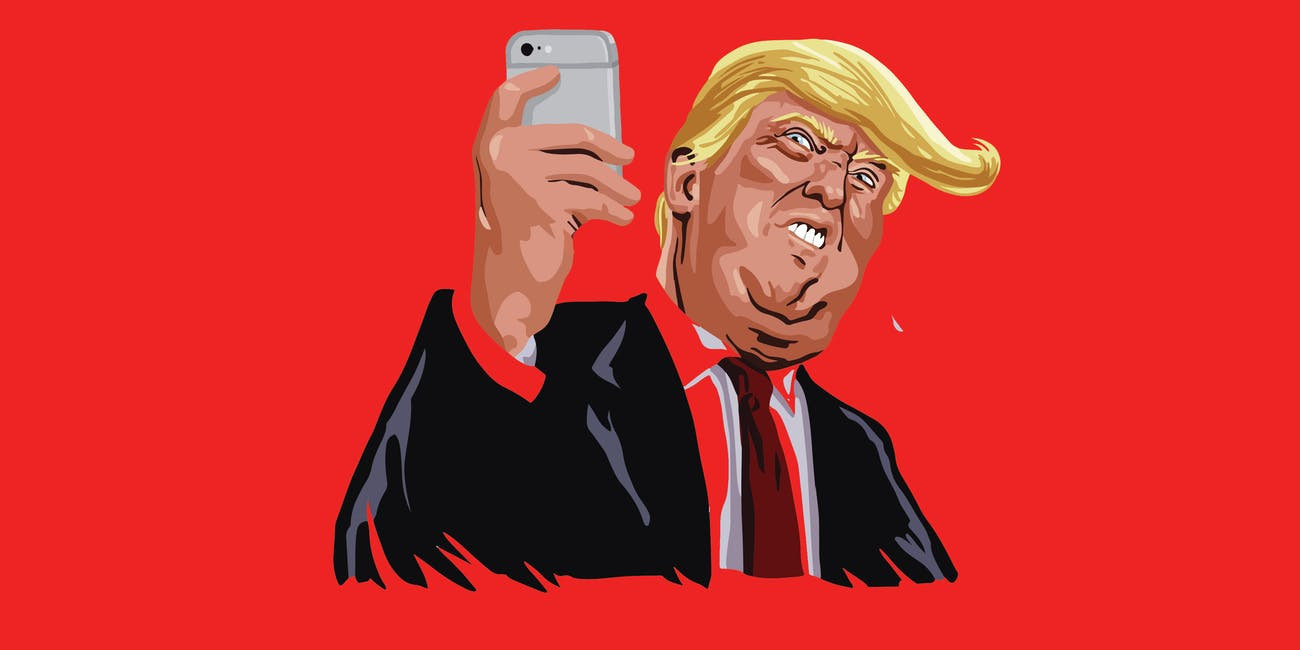 An illustration of Donald Trump holding a phone.