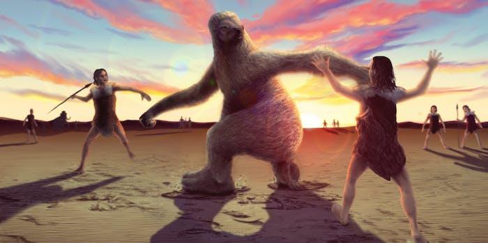 giant sloths, ancient human