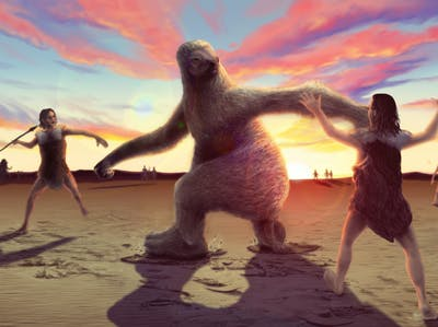 giant sloths, ancient human