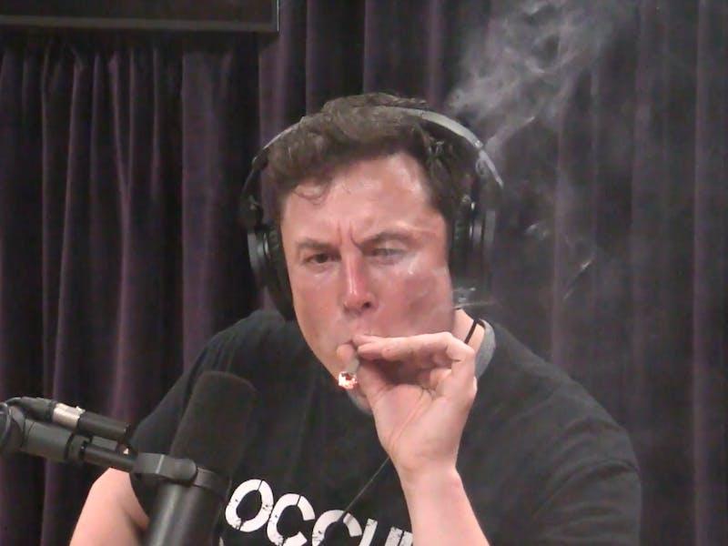 Elon Musk smoking on Joe Rogan