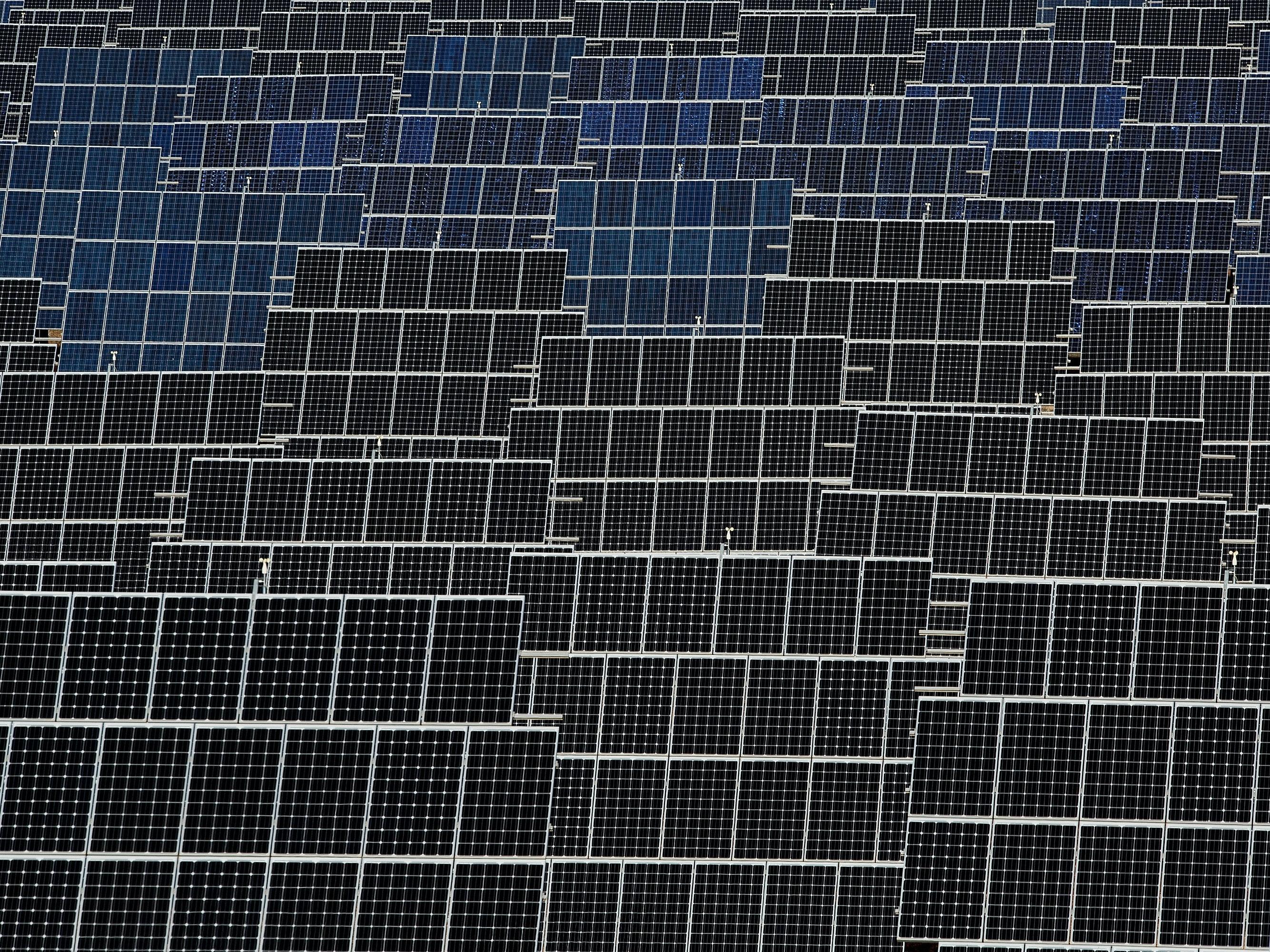 Photovoltaic power panels stand at Abaste's El Bonillo Solar Plant.