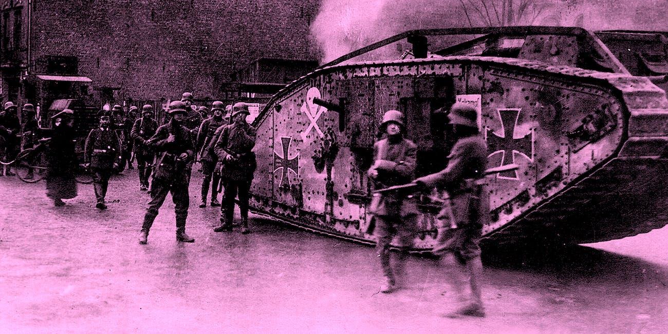 British Steel: A british Mark IV tank captured by the german army in WW1.