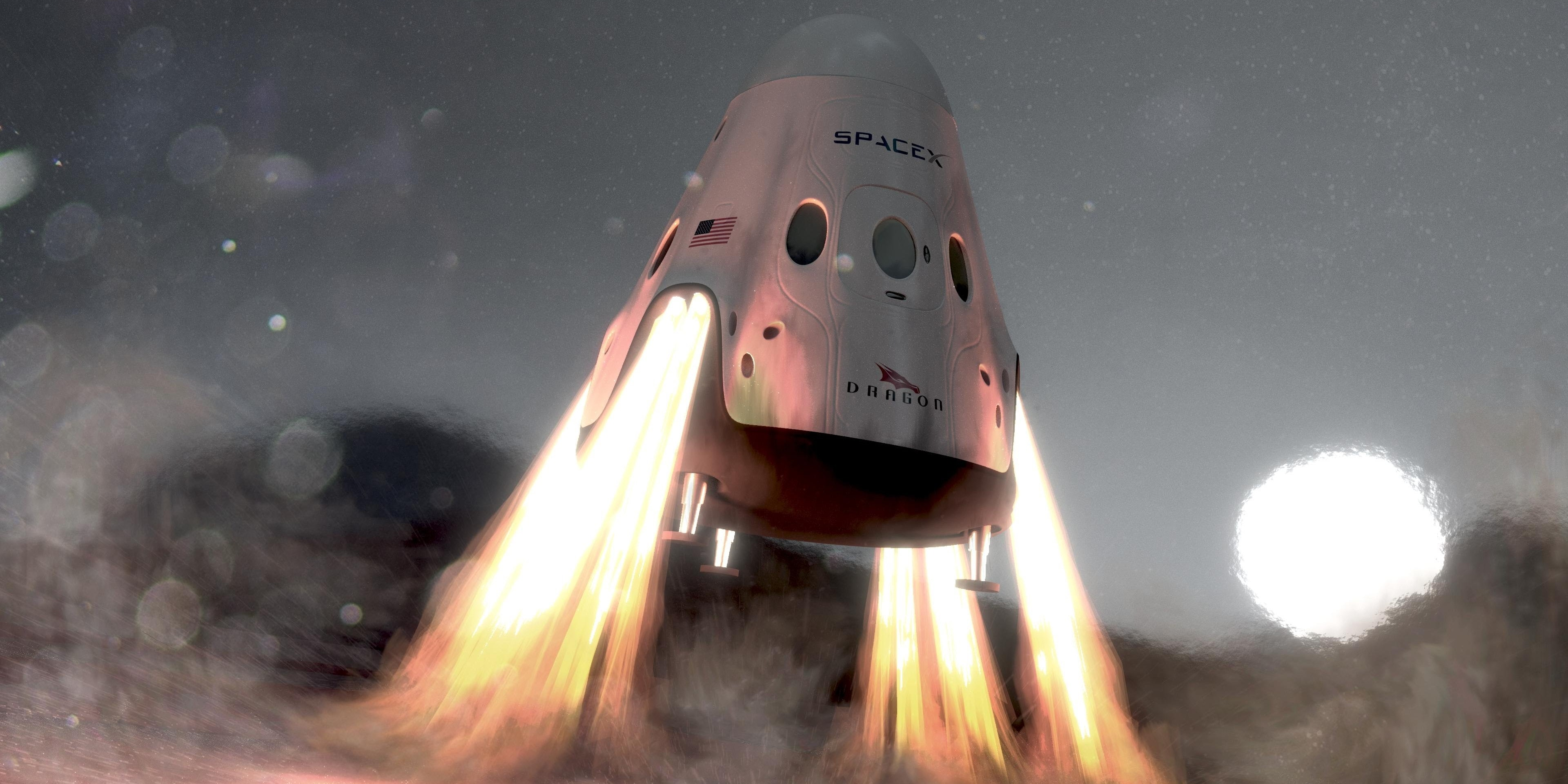 Animation of Red Dragon landing on Mars.