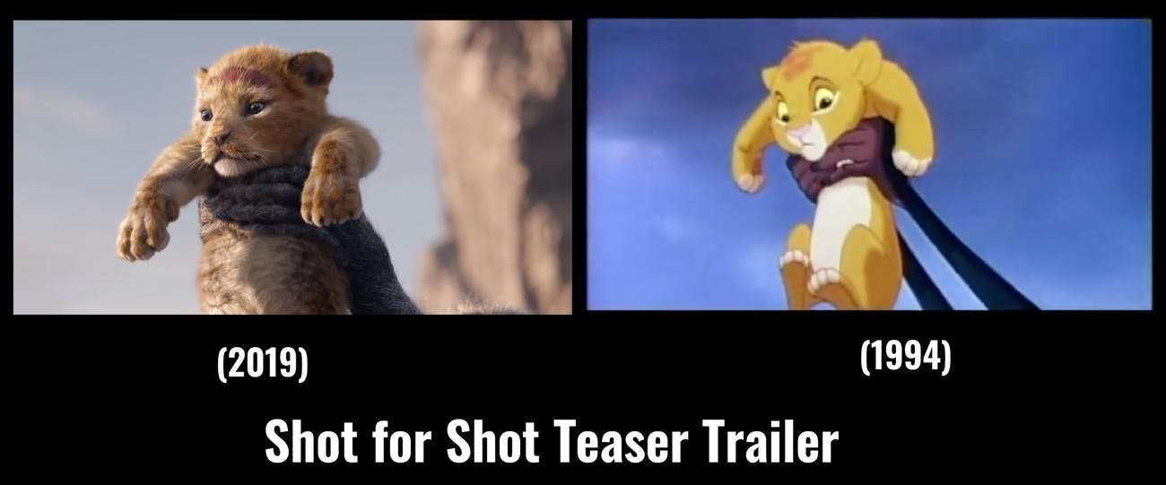 the lion king 2019 trailer matched to the original shot for shot