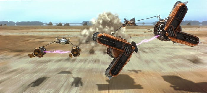 """The pod race scene from 'The Phantom Menace' was partially achieved using """"real"""" miniatures"""