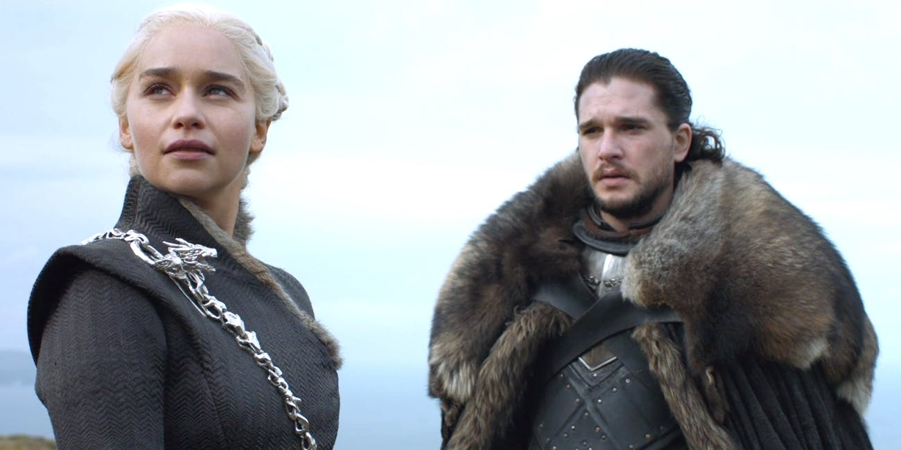 Kit Harington as Jon Snow and Emilia Clarke as Daenerys Targaryen on 'Game of Thrones'
