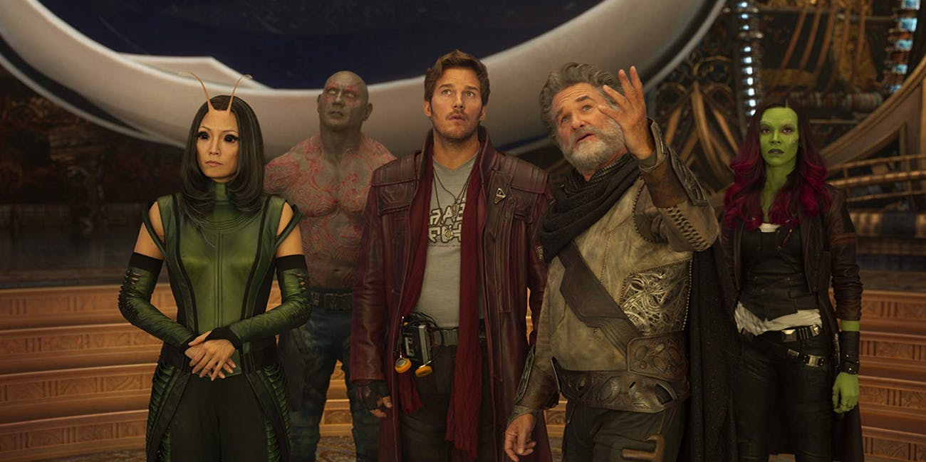 Pom Klementieff, Dave Bautista, Chris Pratt, Kurt Russell and Zoe Saldana in in Guardians of the Galaxy Vol. 2