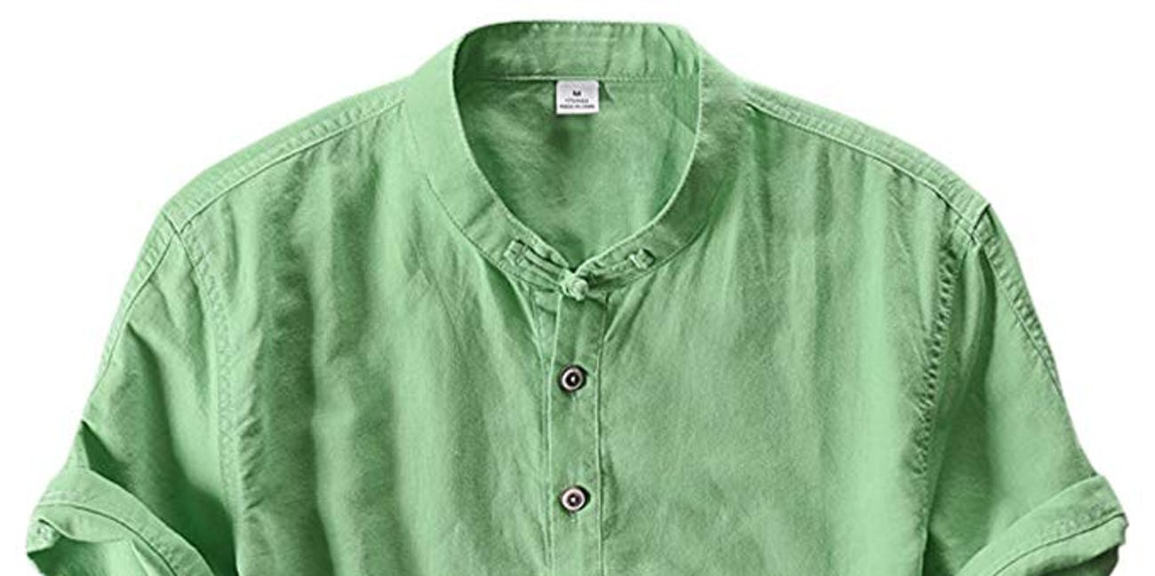 utcoco Men's Retro Chinese Style Short Sleeve Linen Henley Shirts