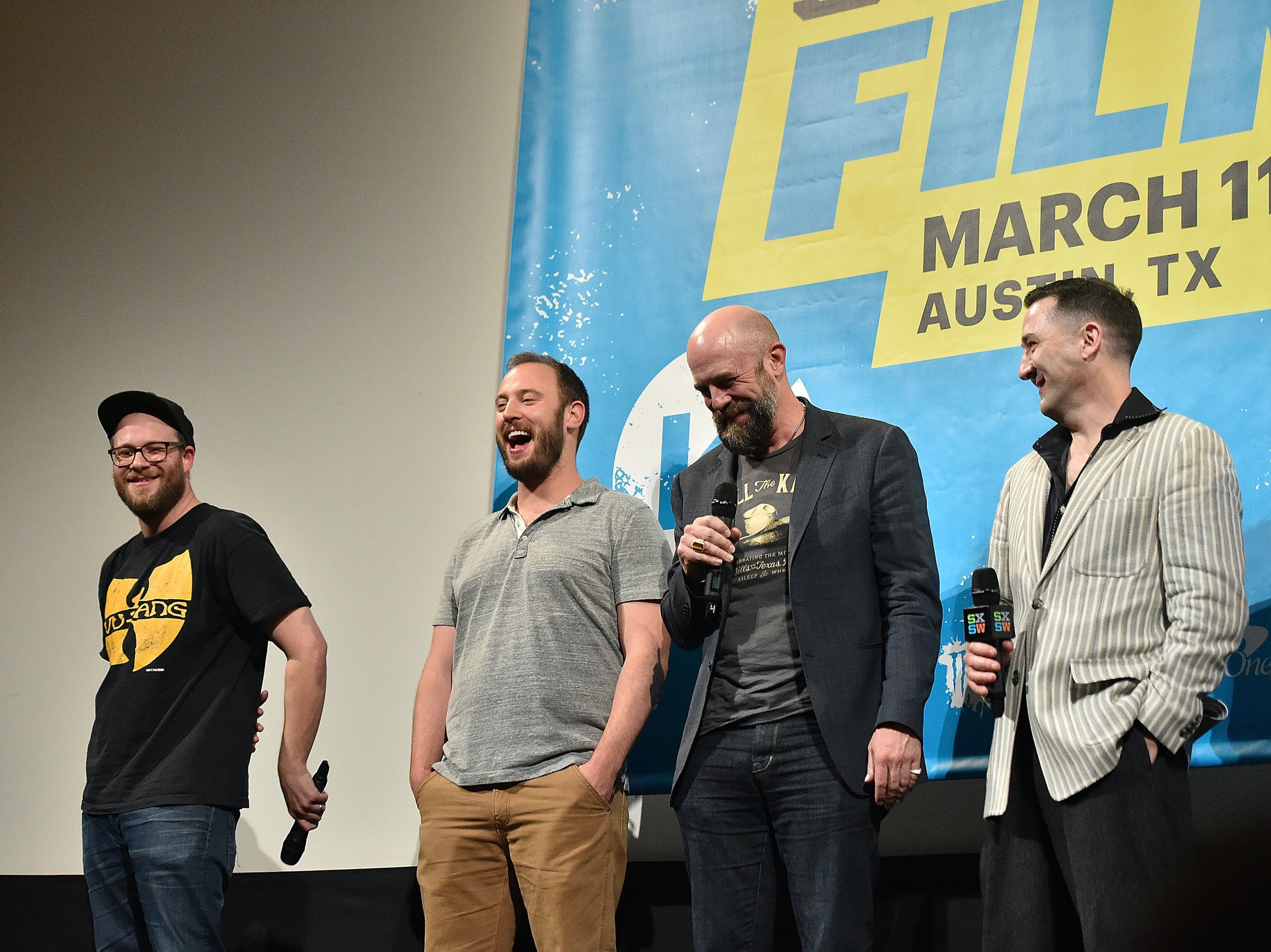 AUSTIN, TX - MARCH 14: (L-R) Seth Rogen, Evan Goldberg, Conrad Vernon and Greg Tiernan attend the premiere of 'Sausage Party (Work In Progress)' during the 2016 SXSW Music, Film + Interactive Festival at Paramount Theatre on March 14, 2016 in Austin, Texas.  (Photo by Mike Windle/Getty Images for SXSW)