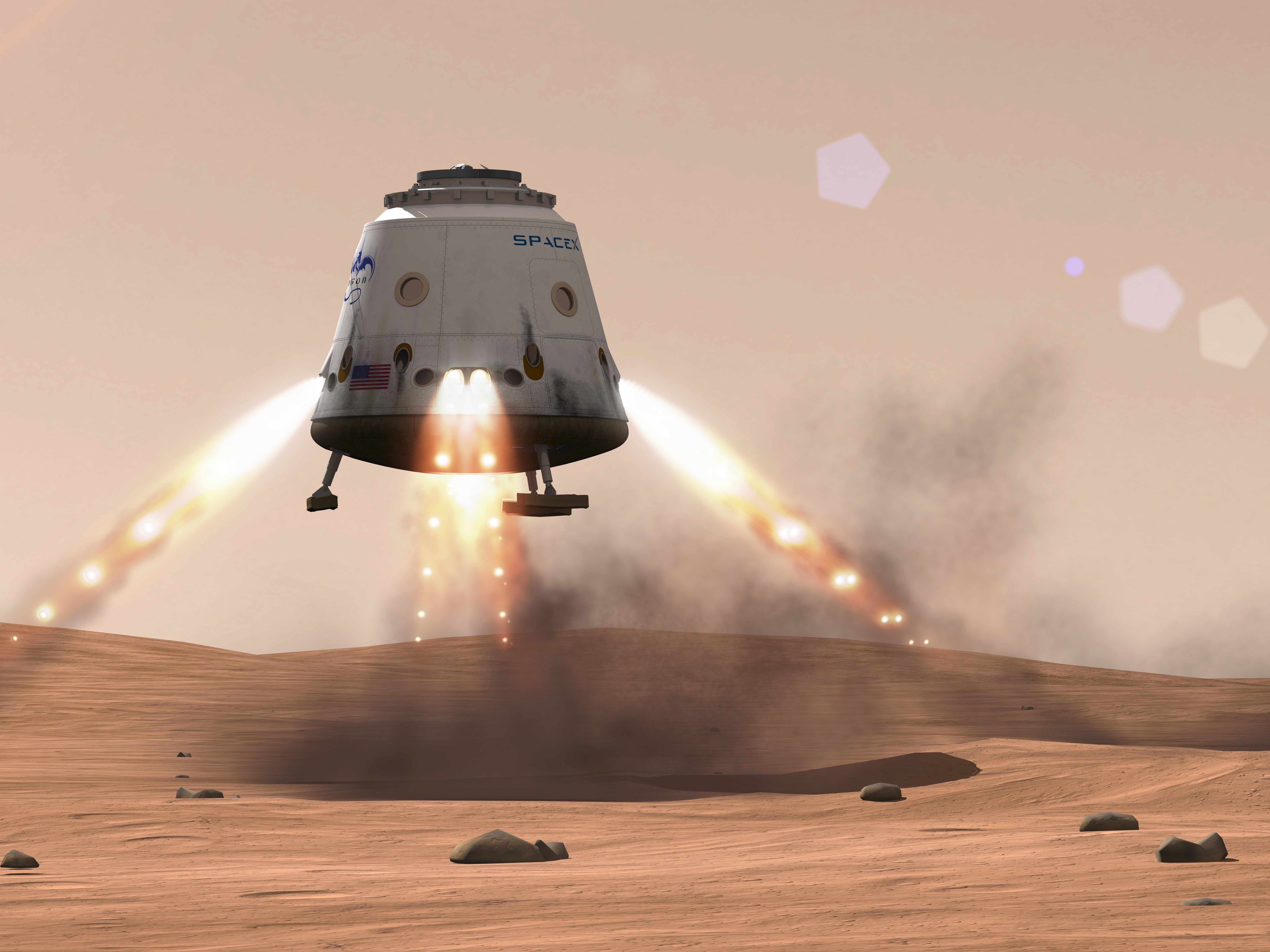 An artist's rendering of what the Red Dragon touching down on Mars might look like.